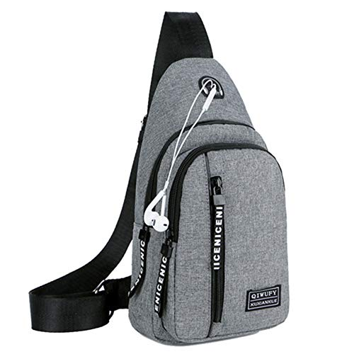 Small Sling Bag Crossbody Chest Shoulder Water Resistant Travel Bag for Men Women Boys With Earphone Hole (Gray)