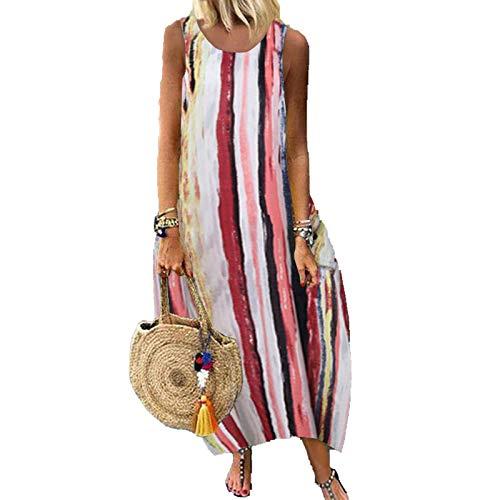 Skirts Robe d'été tendance bohémienne 2021 rayée patchwork robe d'été décontractée à manches courtes en coton pour femme - - Large