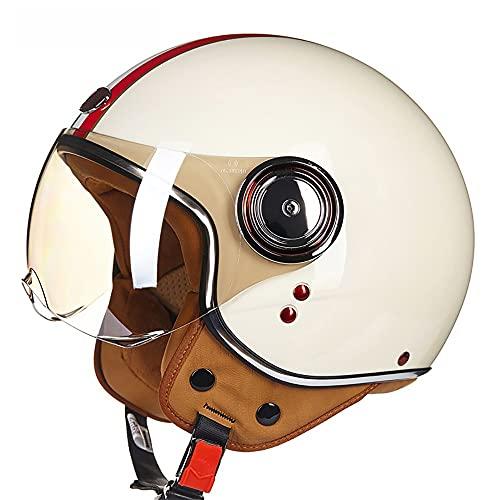 LUNANA Casco Aperto Moto, Vintage Casco Jet con la Visiera, Certificato ECE, Adulto Retro Moto Elettrico Mezzo Casco, inarcamento del Rilascio Rapido, per Cruiser Scooter (57~62cm)