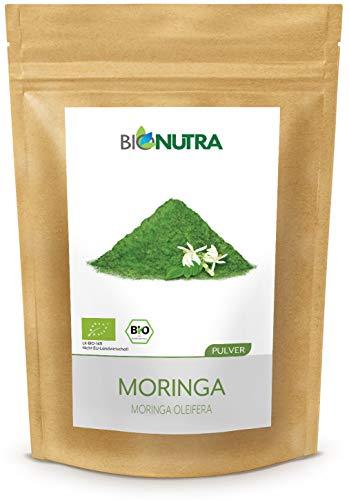 BioNutra® Moringa-Pulver Bio 250 g, feines Blattpulver von Moringa Oleifera, Rohkost, faire Produktion aus Sri Lanka, kontrolliert biologischer Anbau