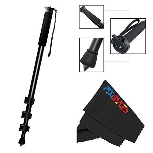 Professional 72' Monopod for Cameras and Camcorders + PixiBytes Exclusive Microfiber Cleaning Cloth