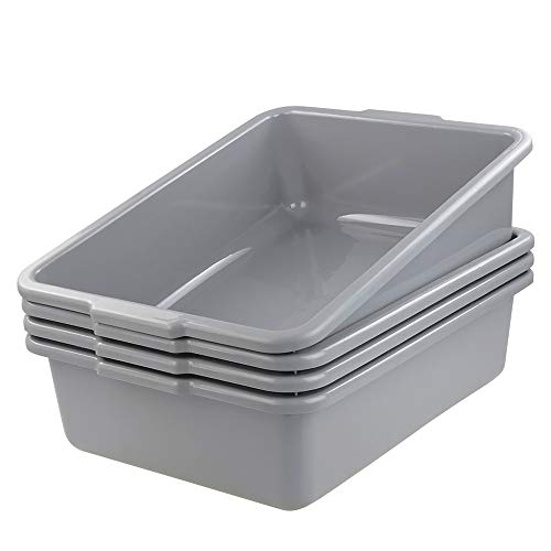 Rinboat 24 Quart Commercial Bus Box, Plastic Bus Tote, Gray, Pack for 4