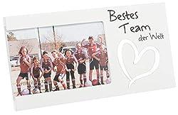Brandsseller Bilderrahmen Fotorahmen - Bestes Team der Welt - mit Spiegelherz 25x13x1,5 cm Matt-Weiß