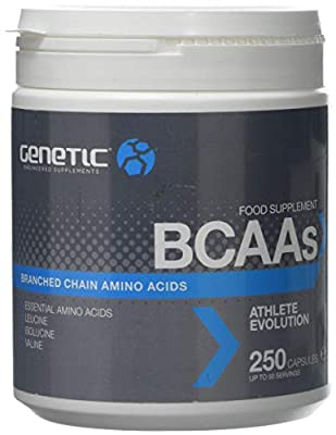 Genetic BCAA's (250 caps) - Essential Branched Chain Amino Acids - with L-Leucine, L-Isoleucine and L-Valine - Capsules to Build Muscle Mass