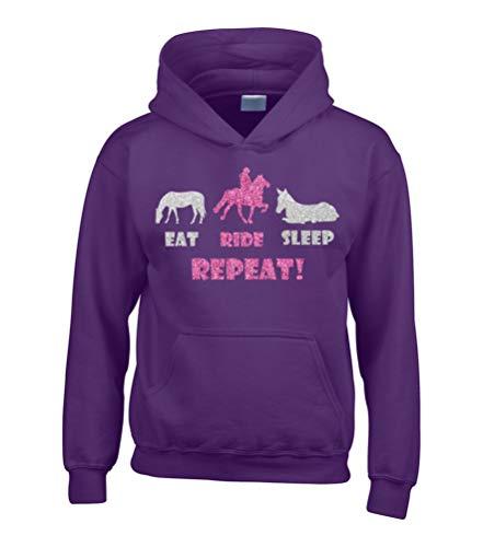 EAT Ride Sleep Repeat' - Sudadera con capucha para montar a caballo con estampado de purpurina rosa y plata