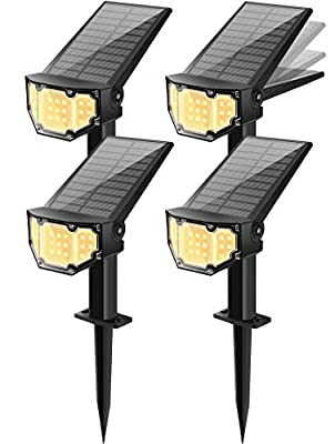 Otdair Solar Landscape Spotlights, 19 LED Solar Powered Lights Outdoor IP67 Pathway Lights Wireless, Bright Warm, 2 in 1 Wall Lights Yard Lights for Garden Driveway Porch Walkway Pool Patio 4Pcs