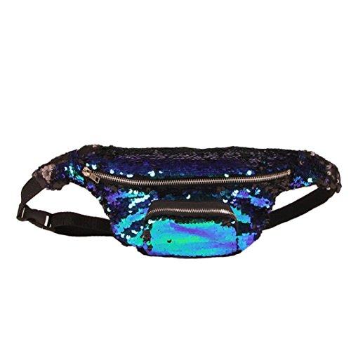 VJGOAL Damen Bauchtasche, Unisex Frauen Mädchen Outdoor Sports Party Reise Doppel Farbe Pailletten Tasche Casual Hüfttasche (A)