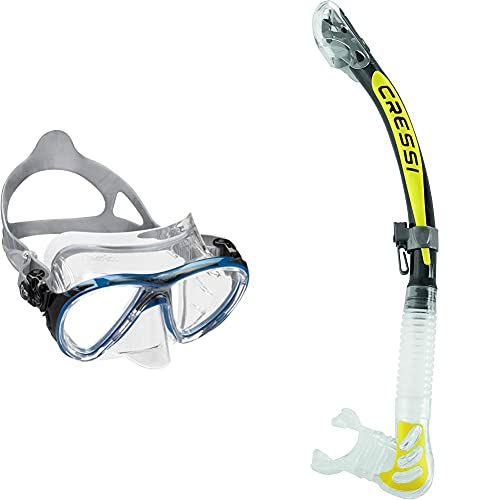 Cressi Big Eyes Evolution - Gafas De Buceo + Epsilon SPE Alpha Ultra Dry Snorkel De Silicona Unisex, Amarillo/Negro, Talla Única
