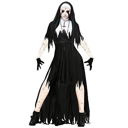 GDYJP Halloween Nun Cosplay Traje Mujeres Negro Vampiro fantasa Vestido Terror Hermana Fiesta Disfraz Femenino Femenino Femenino para Adultos (Color : A, Tamao : L)