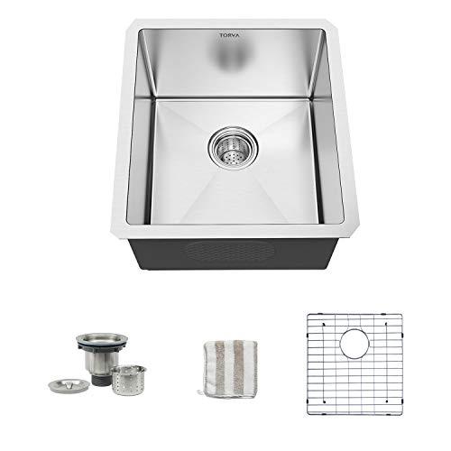 Bar Sink, TORVA 13 x 15 Inch Undermount Kitchen Sink, 16 Gauge Stainless Steel Bar or Prep Sinks Single Bowl