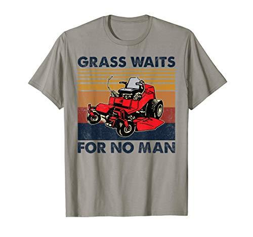 Vintage Grass Waits For No Man, Funny Mens Grass Cutting T-Shirt