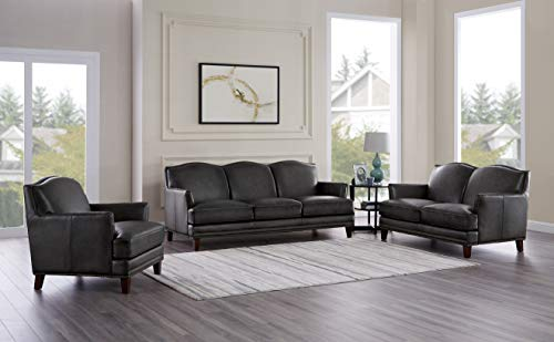 Hydeline Oxford 100% Leather Sofa, Loveseat and Chair Set, Gray