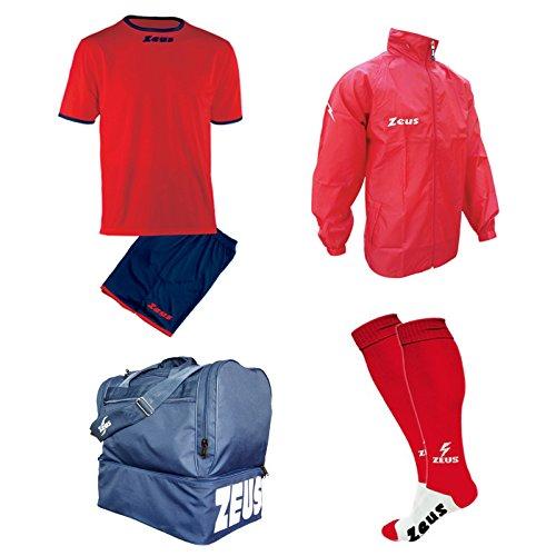 Zeus Kit Calcio Sticker Calza + Borsone E K-Way Calcetto Allenamento Completino Borsa Impermeabile (XXL, Rosso-Blu)