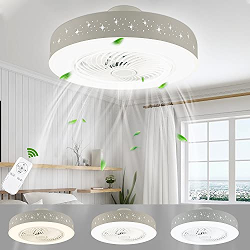 LUTDK Ventilatori da Soffitto con Lampada LED 48W,3000K-5000K Regolabile,3 Velocità Con Funzione...