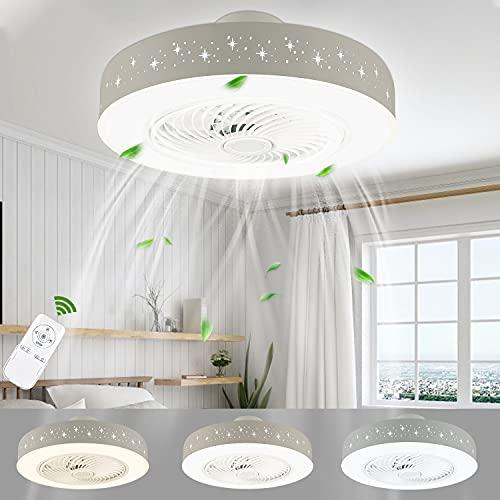 LUTDK Ventilatori da Soffitto con Lampada LED 48W,3000K-5000K Regolabile,3 Velocità Con Funzione di Guida del Vento per Soggiorno, Camera da Letto, Sala da Pranzo, Camera dei Bambini