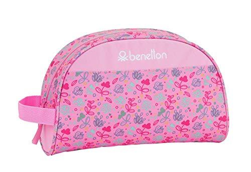 safta 812053332 Neceser, Bolsa de Aseo Adaptable a Carro Benetton, Rosa (Mariposas)