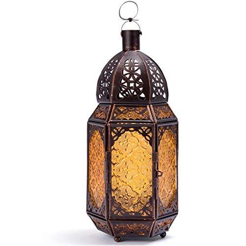 LAMZH Vela Linterna marroquí Hierro Hierro Vela Vela lámpara de Viento decoración decoración lámpara de Viento Vela Retro Hierro Vela Linterna (Color : Bronze, Size : 12x14x30cm)