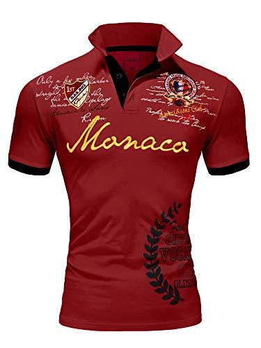 Amaci&Sons Herren Poloshirt Basic Kontrast Monaco Stickerei Kurzarm Polohemd T-Shirt 5107 Bordeaux XL