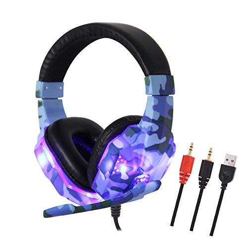 Fones de Ouvido com Cancelamento de Ruído Fone de Ouvido para Jogos com MIC, Fone de Ouvido Estéreo para Jogos com Conector de 3,5 mm, Adequado para PC/PlayStation 4 / PS4 Slim / PS4 Pro/XB,Yongqi