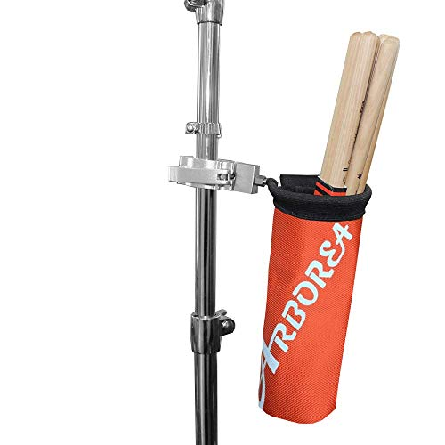 Arborea ドラムスティック ホルダー ドラムスティック バッグ 12ペア収納可能 ナイロン素材 アルミニウム合金 (オレンジ)