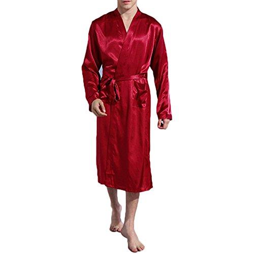 FY Uomo Unisex Kimono Robe Accappatoio Vestaglie Lunghe Imitazione Seta Bathrobe Pajamas Camicie Da Notte Homewear Dressing Gown Nightwear Spa Massager Partito Rosso Taglia M