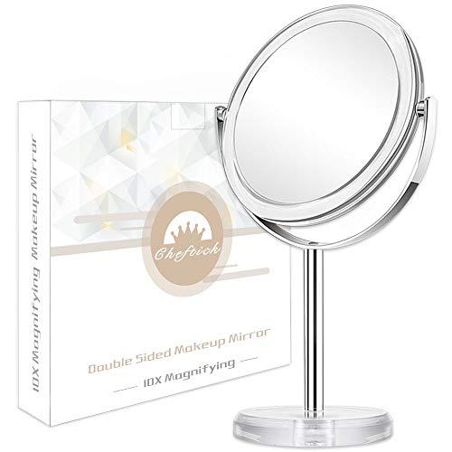 Cheftick Kosmetikspiegel Vergrößerung,Doppelseitiger Schminkspiegel stehend,1X & 10X Hochauflösend Tischspiegel,360°Drehung Höhenverstellba …