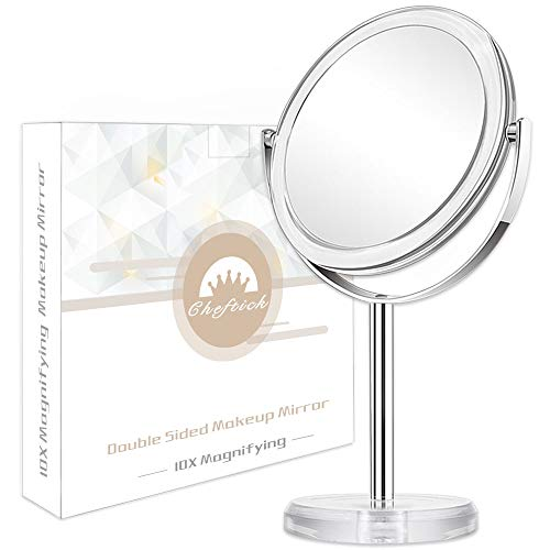 Cheftick Double Sided 1X & 10X Magnifying Makeup Mirror, Tabletop Magnified Vanity -