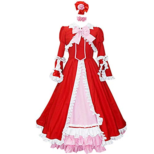 Anime Elizabeth Midford Liz Cosplay Costume Red Long Dress Full Set Halloween