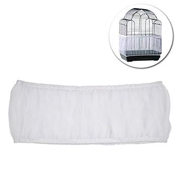 UEETEK Housse de cage à oiseaux en maille filet pour nourriture pour petits animaux – Taille S (blanc)