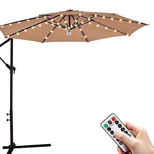 Sonnenschirm Lichterkette LED Beleuchtung mit Fernbedienung 8 Modi Sonnenschirm Lichter 8 Lichtbänder Regenschirm Outdoor Garten Weihnachtsdeko Warmweißes Licht