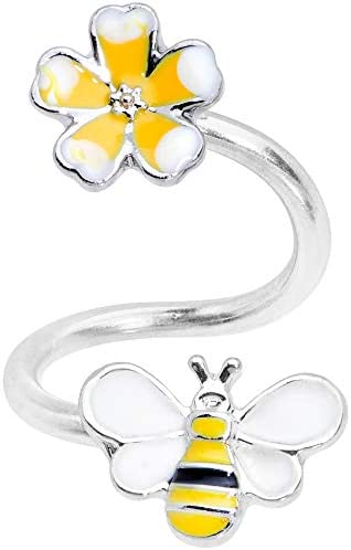 Body Candy Womens 14G Steel Yellow Flower Honey Bee Spiral Twister Belly Button Ring Helix Cuff product image