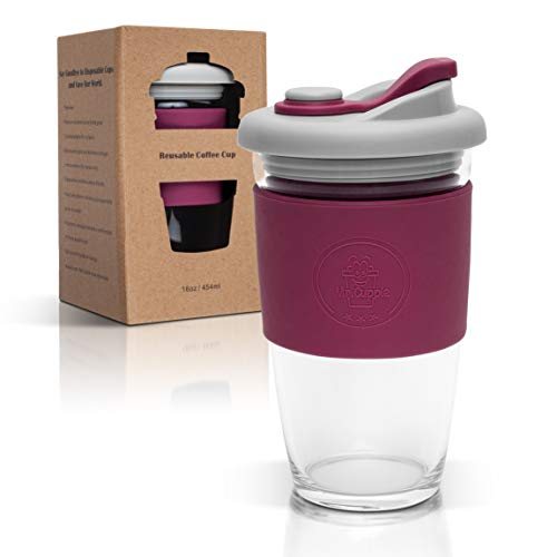 Mr.Cuppie Reusable Glass Coffee Cup, ToGo Travel Coffee Mug with Lid and Silicone Sleeve, Dishwasher and Microwave Safe, Portable Drinking Glass Tumbler, 16oz (Magenta Purple, 16oz)