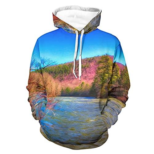 Niersensea Sudadera con capucha para niños grande, diseño de bosque, montaña, lago, árboles, paisaje, gráficos 3D, manga larga, deportiva, color blanco, XL