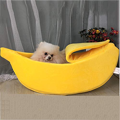 QIAO Funny Banana Shape Cat Bed House Cozy Cute Puppy Cushion Kennel Warm Portable Pet Basket Supplies Mat Beds Yellow,M