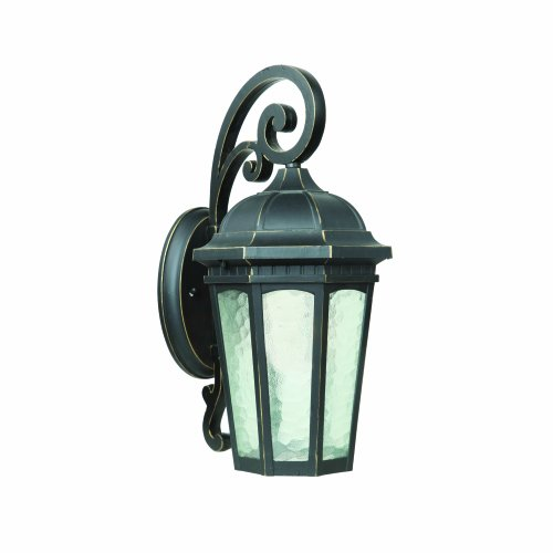Yosemite Home Decor FL1618SDWB 1 Light Fluorescent Exterior with Clear Water Small Sized Glass, Weathered Bronze Finish