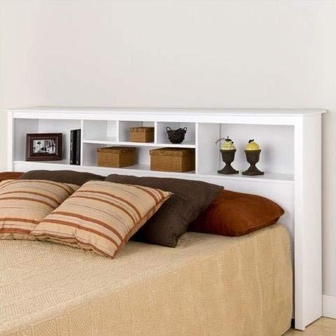 King Size Stylish Bookcase Headboard in White Wood Finish