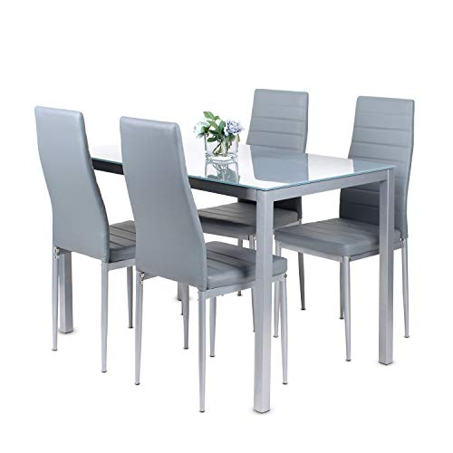 J- Dining Table and Set of 4 Chairs,Grey Glass Kitchen Table with High Back PU Leather Chairs