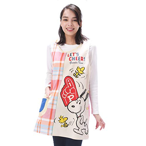 NISHIKI[ニシキ] キャラクターエプロン《スヌ−ピ−》幼稚園の先生や保育士さんに【選べるカラー/大きいサイズも】速乾 シワになりにくい 動きやすいショート丈 さらりと軽い 綿ポリ ポケット付き レディース 背付エプロン apron 【レッド/LL-