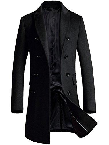Vogstyle Herren Warme Wolle Coat Wintermantel Jacke Herrenmantel, XL, Schwarz