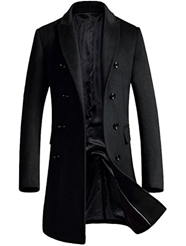 FTCayanz Herren Mantel Wintermantel Slim Fit Wollmantel Business Herrenmantel Lange Trenchcoat Jacken Schwarz L