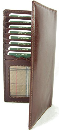 New top of The Range Visconti Italian Glazed Leather Turin Breast Pocket Wallet Money Bag Style MZ-6 (Brown)