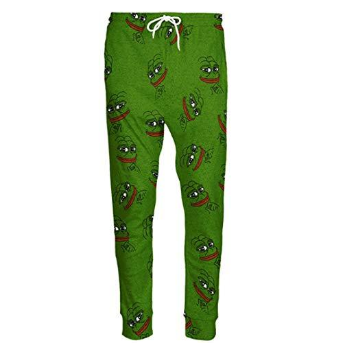 FR-pants-personality Pantalons de Jogging 3D la Grenouille Hommes/Femmes Pantalon de survêtement drôle de Bande dessinée Pantalon Pantalon Taille élastique XL