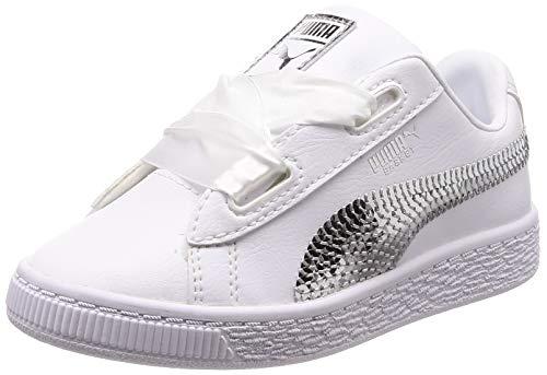 Puma Basket Heart Bling PS, Scarpe da Ginnastica Basse Bambino, Bianco White Silver 02, 31 EU