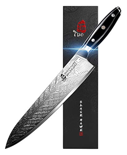 TUO Chef Knife - Kitchen Knives 10-inch High Carbon Stainless Steel - Pro Chef's Vegetable Meat Knife with G10 Full Tang Handle - Black Hawk S Knives Including Gift Box