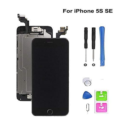 Hoonyer Pantalla para iPhone 5S/SE Pantalla táctil LCD Pantalla digitalizadora Herramientas de reparación (con botón de Inicio, cámara Frontal,Sensor de proximidad, Altavoz) Negro