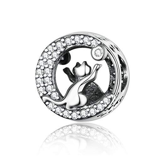925 Sterling zilveren twee katten met maankraal bedeltje compatibel met Pandora bedelarmband ketting