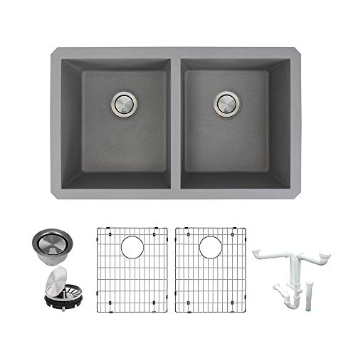 Transolid K-RUDE3118-17 Radius Granite Undermount Equal Double Bowls Kitchen Sink Kit, 31.75-in L x 19.13-in W x 9-in H, Grey