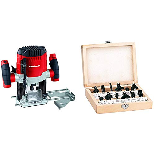 Einhell Oberfräse TC-RO 1155 E (1100 W, Ø 6 und 8 mm, Drehzahlregelung, Parallelanschlag, Absaugadapter, inkl. Zubehör) + Fräser Set passend für Elektro Oberfräsen (12-teilig, Lieferung im Holzkoffer)
