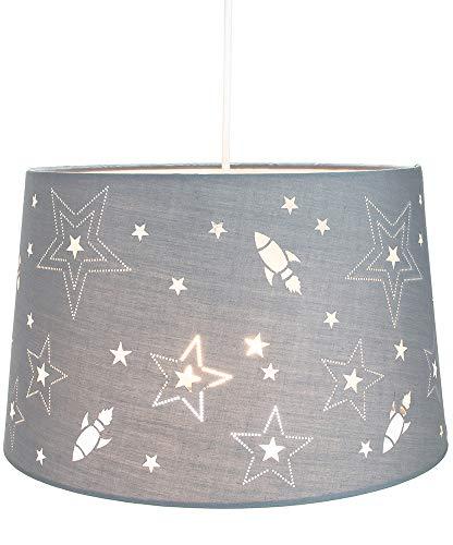 Fun Rockets and Stars - Lámpara colgante o pantalla de dormitorio de algodón gris para niños/niños por Happy Homewares