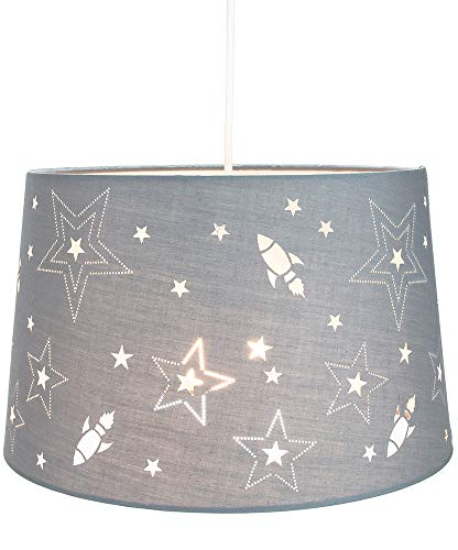 Leuke raketten en sterren Kinder/kinderen grijze katoenen slaapkamerhanger of lampenkap